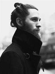 Beard Men with Long Hair Bun