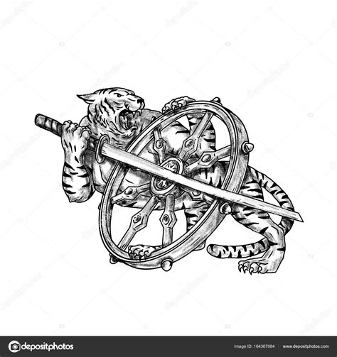 tiger  katana  dharma wheel tattoo stock photo