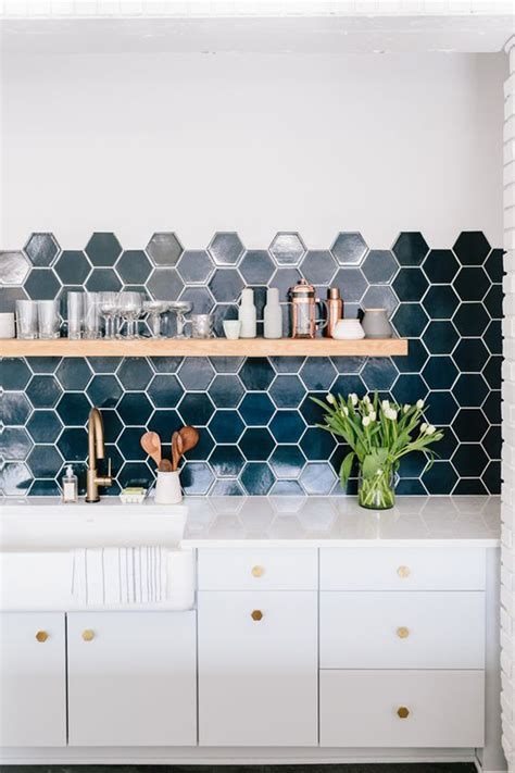 copper backsplash tiles 25 stylish hexagon tiles for kitchen walls and