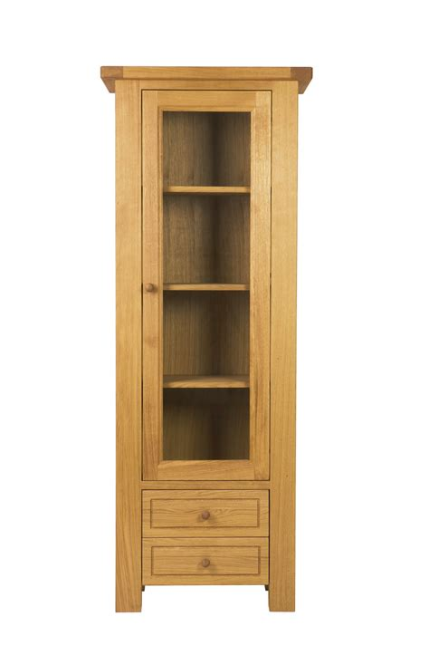 charltons bretagne solid oak display cabinet with light