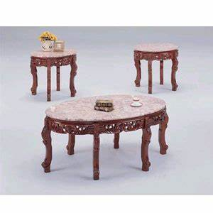 coffee table 3 pc marble top coffee table set8290 8291 With real marble coffee table set