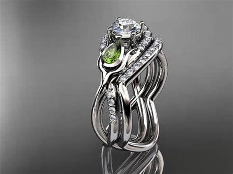 flower wedding ring set 14kt white gold tulip flower wedding ring engagement set adlr226 2049599 weddbook