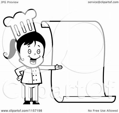 Chef Menu Clipart Blank Cartoon Presenting Coloring