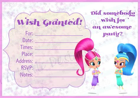 shimmer and shine invitation template free instant shimmer and shine fill in the blank