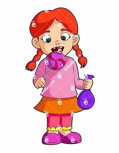 Clipart Eating Candy Lollipop Cartoon Vector Boy