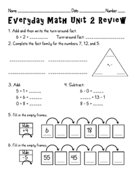 everyday math unit 2 review by teachers pay