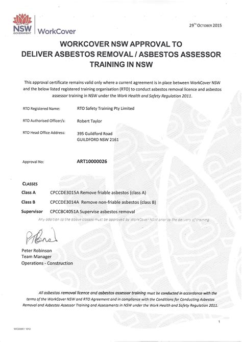 asbestos removal training courses sydney safety training