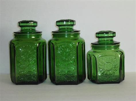 green kitchen canister set vintage green glass kitchen canister set wheaton