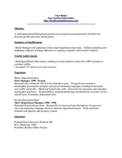 objective for resume in retail 28 images fashion
