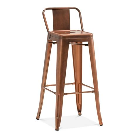 chaise style tolix tolix style metal bar stool with low back rest vintage