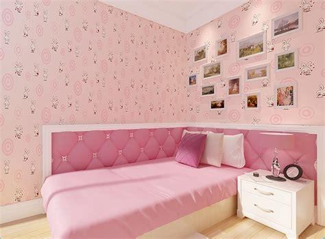 Sweet Pink Color White Rabit Wallpaper For Girls Room Kids