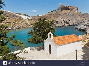 St Pauls Bay Chapel With Acropolis Lindos Island Rhodes Greece Stock Photo  Royalty Free Image