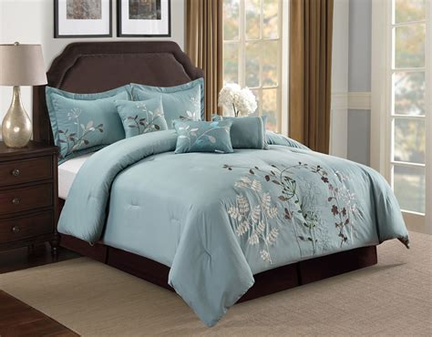 7 piece beige floral embroidered comforter set ebay