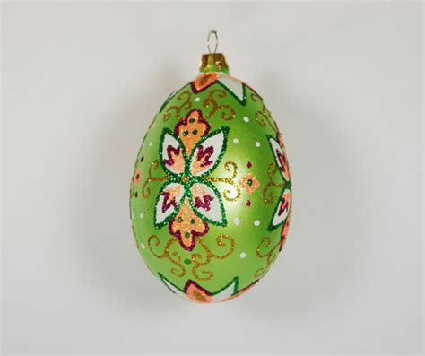 green faberge egg hand blown glass christmas tree