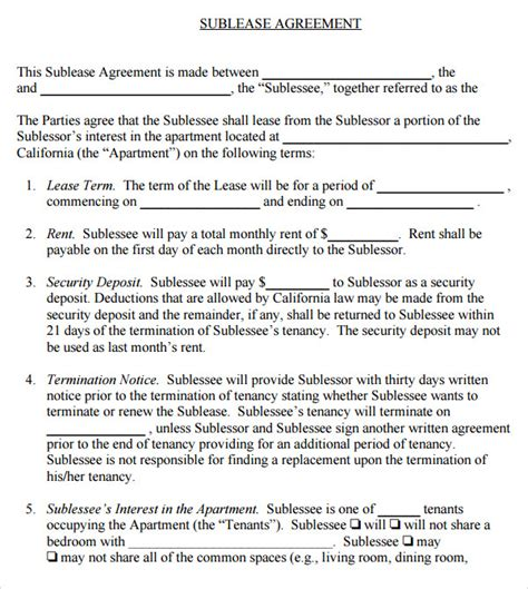 sample  sublease agreement templates