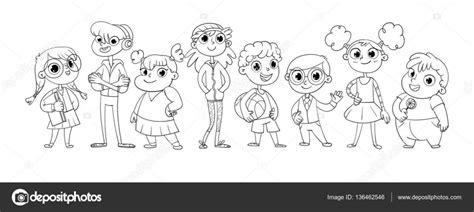 Niños En Fila Para Colorear Mejores páginas para colorear