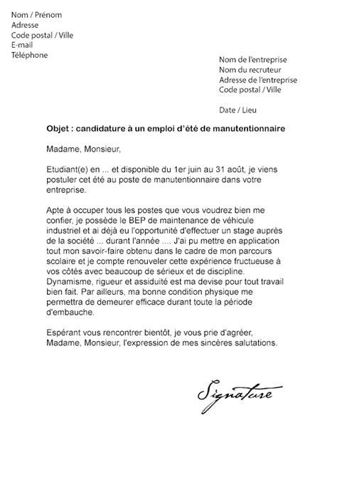 emploi formateur cuisine lettre de motivation d 39 été manutention modèle de lettre