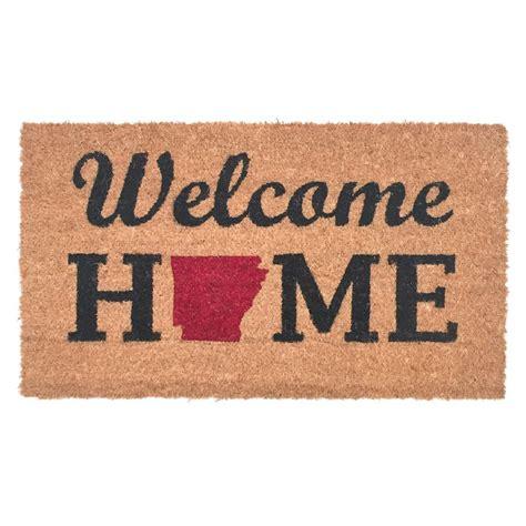 welcome home doormat 16 in x 28 in arkansas welcome home vinyl back coco door