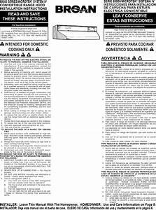 Broan 883001 User Manual Range Hood Manuals And Guides