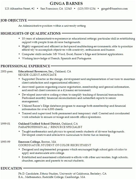 Resume Profile Statement For High School Students by Paraprofessional Resume Sle Jennywashere