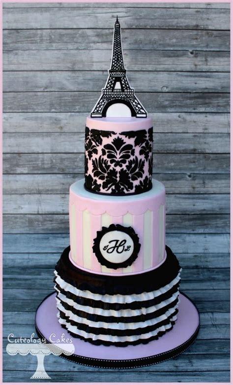 Wedding Cake Inspiration Pink & Black Paris Theme • Diy
