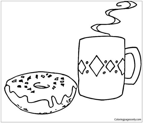 Donut Kleurplaat by Coffee And Donut Coloring Page Free Coloring Pages