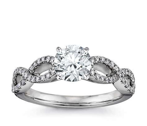 Infinity Twist Micropavé Diamond Engagement Ring In 14k