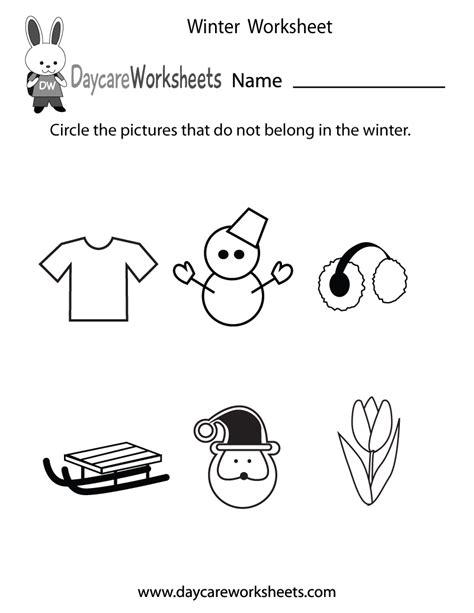 preschool winter worksheet
