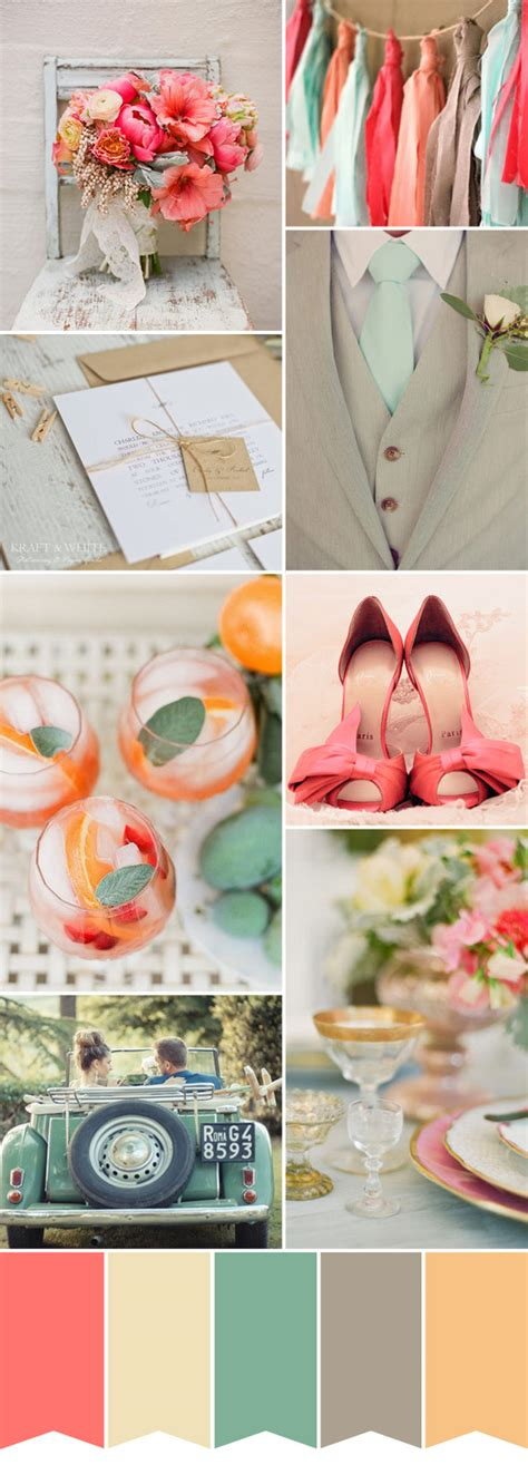 spring inspired wedding colour palette coral mint