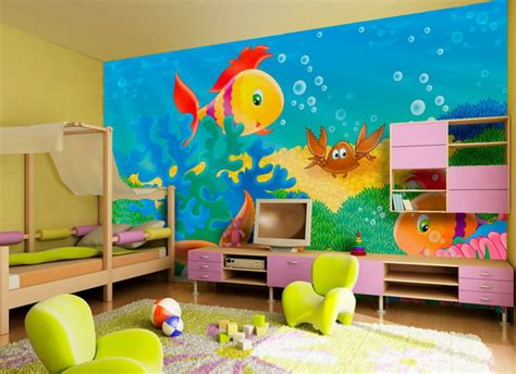 Cute Kids Room Wall Painting With Fish Pictures Ideas