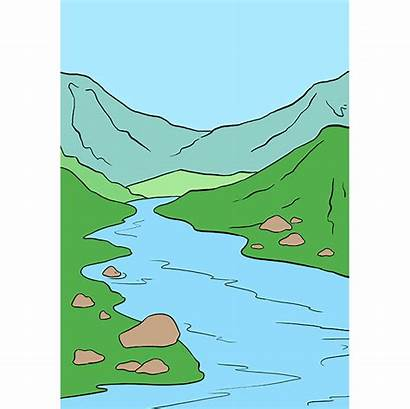 River Drawing Draw Nile Easy Mountain Tutorial