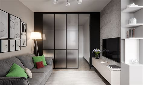 6 Sleek Studios With Glass Walled Bedrooms : Studio Apartment Of 45 Sq.m. On Behance