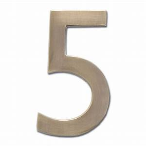 Four inch floating house number antique brass 5 for Floating house letters