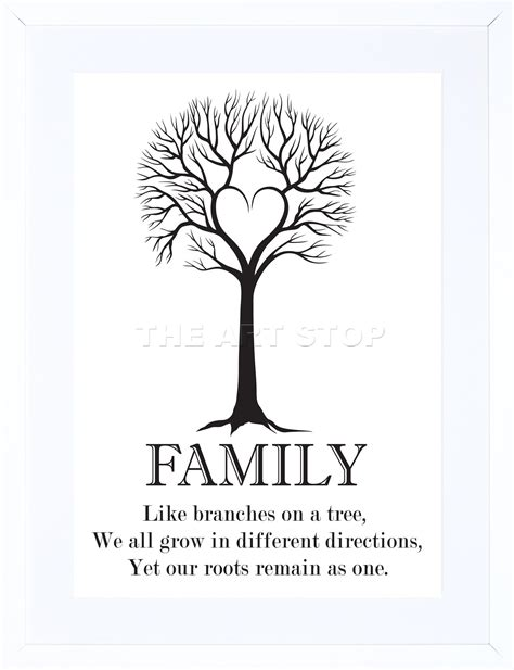 family roots quote motivation bw  tree framed