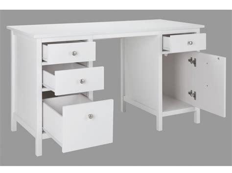 bureau avec rangements bureau albane 4 tiroirs 1 porte pin massif blanc