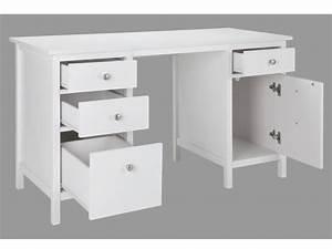 Bureau Avec Rangement : bureau albane 4 tiroirs 1 porte pin massif blanc ~ Teatrodelosmanantiales.com Idées de Décoration