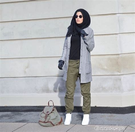 Ziziosashion. Military style clothing. Hijab fashion. Gray cardigan black t-shirt olive green ...