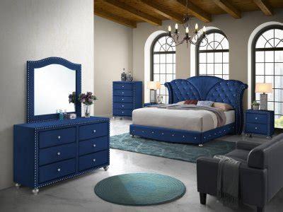 alana bedroom set pc  blue velvet fabric