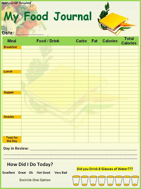 Daily Food Journal Template by Food Journal Be Active Decatur