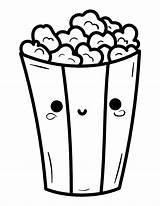 Popcorn Coloring Kawaii Printable Pdf sketch template