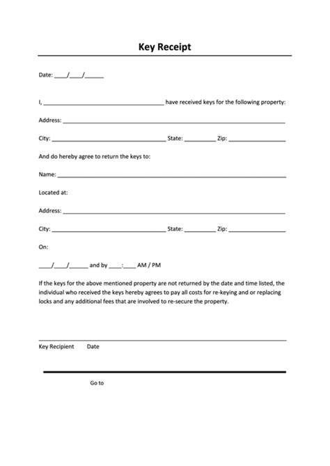 key receipt form property rental printable