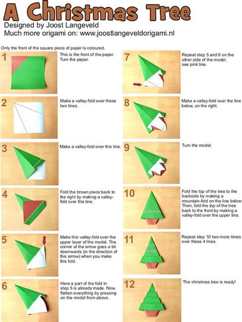 step by step how to make christmas decor origami tree diagrams for an origami