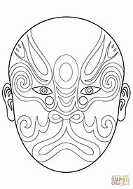 Chinese Opera Masks Coloring Pages