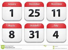 Calendar Icons With Holiday Dates Stock Image Image