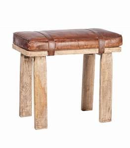 Tabouret Rondin De Bois : tabouret en bois naturel et cuir marron design ~ Teatrodelosmanantiales.com Idées de Décoration