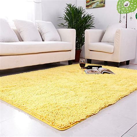 Washable Living Room Area Rugs by Ustide Yellow Chenille Rugs Shaggy Washable