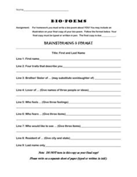 Sle Biography Template For Students by 1000 Images About Biopoems On Poem Writing