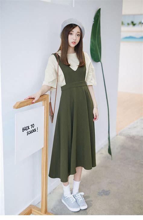 korean fashion single color dress addoneclothing