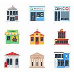 Building Restaurant Clipart Icon Pharmacy Vector Icons