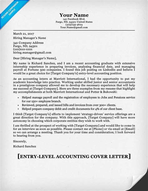 accounting cover letter entry level accounting cover letter tips resume companion